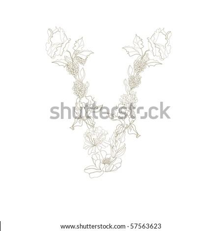 Decorative font. Letter V - stock vector