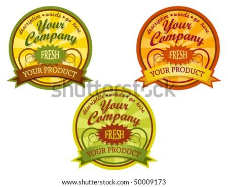decorative food labels - stock vector