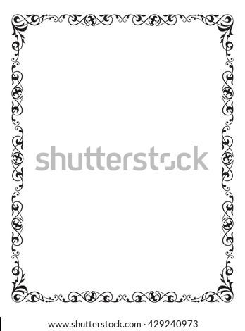 Decorative Frame Corner Vignette Letter Page Stock Vector