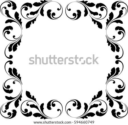 Decorative Frame Floral Swirls Flowers Border Stock Vector 594660749 ...