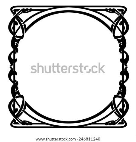 decorative frame with art Nouveau ornament - stock vector