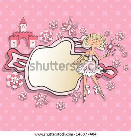 decorative frame with little princess - stock vector