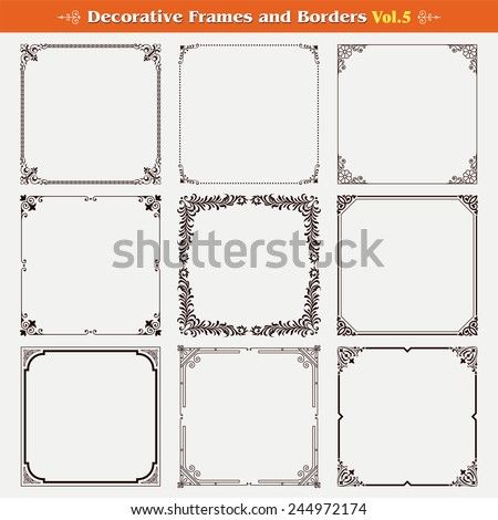Decorative frames and borders set 5 vector - stock vector