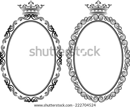 decorative frames with crown - stock vector