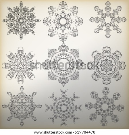 Decorative geometric snowflakes mandala icon isolated for card, Vector in black and white. For invitation, scrapbook, banner, postcard, tattoo, yoga, boho, magic or flyer. Vector illustration.