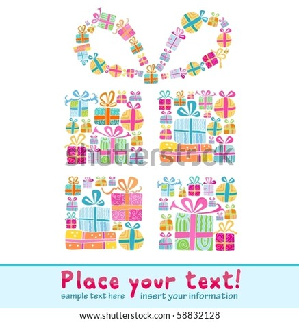 Decorative gift box formed by several tiny gift boxes - stock vector