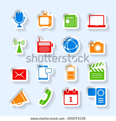 Decorative global social media radio tv news broadcasting camera symbols collection stickers set isolated vector illustration