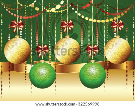 Decorative gold and green Christmas glass balls, holiday ornaments. - stock vector