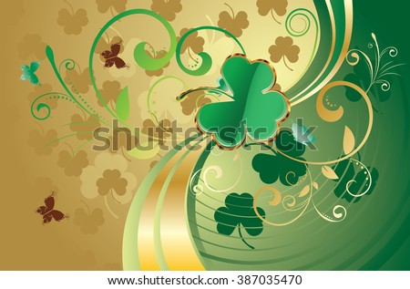 Decorative gold and green design for St Patricks Day, holiday background.