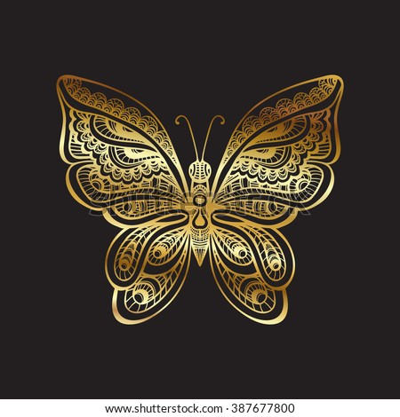 Decorative gold butterfly on black background. Vector illustration. - stock vector