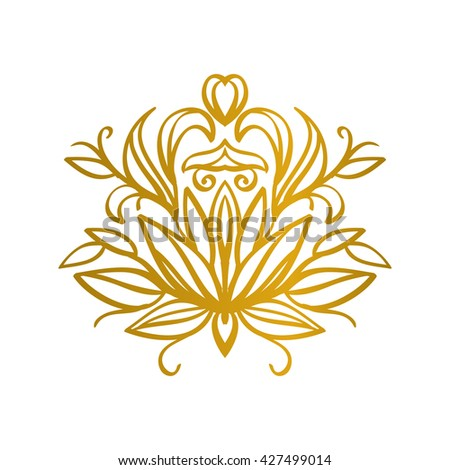 decorative gold floral element in vintage style. vector illustration.