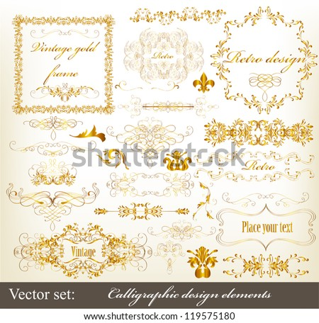Decorative  golden elements for elegant design. Calligraphic vector - stock vector