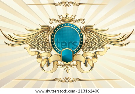 Decorative golden insignia - stock vector