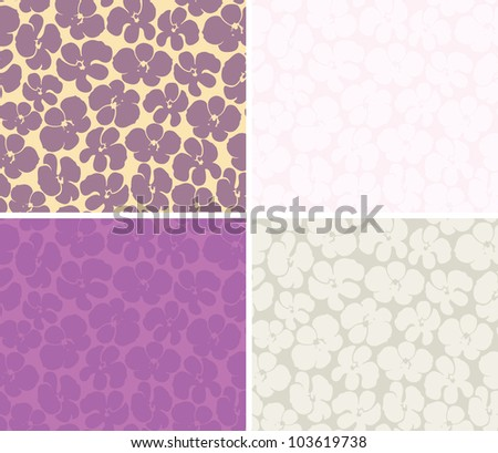 Decorative graphic color seamless background pattern with orchids
