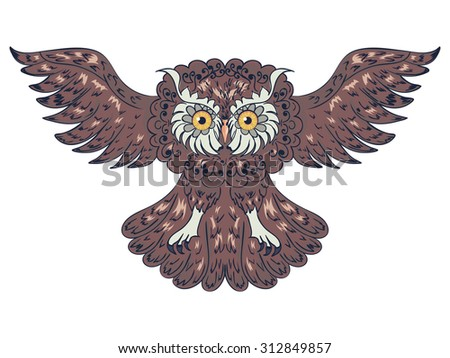 Decorative graphic owl with abstract ornament illustration.