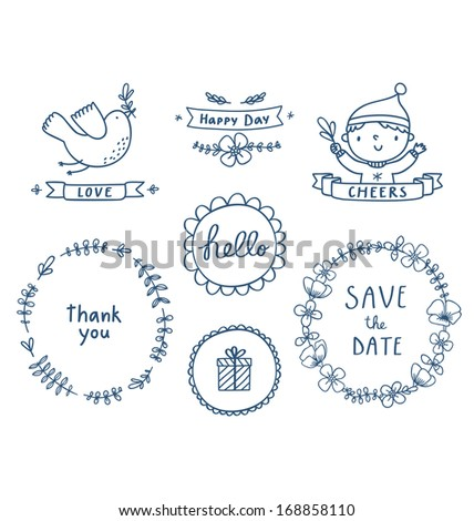Decorative graphic set - stock vector