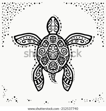 Decorative graphic turtle, tattoo style, tribal totem animal, ornamental pattern, vector illustration - stock vector