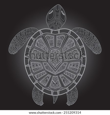 Decorative graphic turtle,  tribal totem animal, vector illustration, isolated elements, hand drawn art in graphic tattoo style, tribal ethnic ornamental totem, detailed lace pattern - stock vector