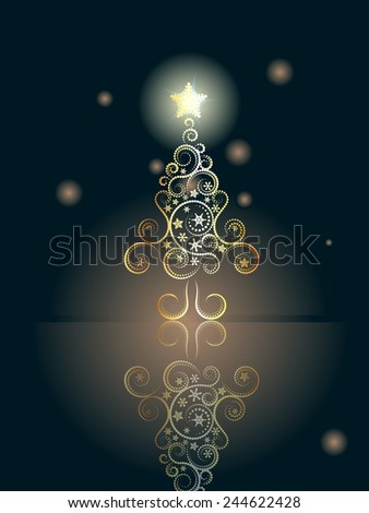 Decorative greeting card design with abstract Christmas tree. - stock vector