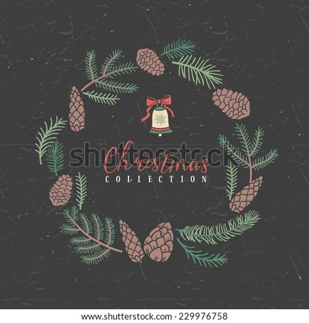 Decorative greeting wreath with bell. Christmas collection. Hand drawn illustration. Design elements. - stock vector