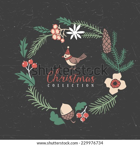 Decorative greeting wreath with bird. Christmas collection. Hand drawn illustration. Design elements. - stock vector