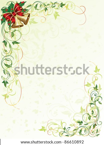 Decorative grunge background with floral elements and Christmas bells, illustration - stock vector