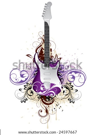 Decorative guitar - stock vector