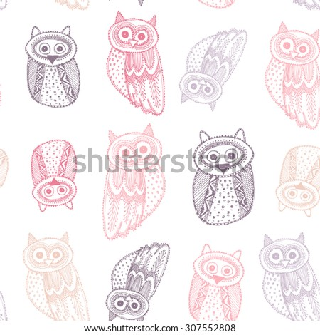 Decorative Hand dravn Cute Owl Sketch Doodle Pink purple outline on white background  seamless pattern. Vector - stock vector