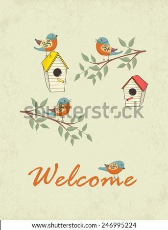 Decorative hand drawn card with bird house and welcome sign. Template for design textile, greeting cards, wrapping paper, packages, backgrounds. Vintage vector illustration. - stock vector