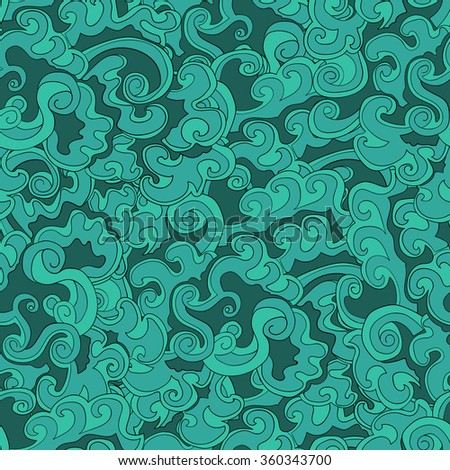 Decorative hand drawn doodle ornamental curl vector sketchy seamless pattern. Can be used for wallpaper, pattern fills, web page background, surface textures.Seamless wave seamlessly tiling