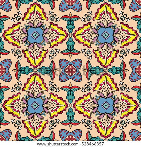 Decorative hand drawn seamless pattern. Colorful abstract stylized floral doodle background. Tribal ethnic ornate decoration. Arabic, indian, turkish ornament. Vector geometric repeating texture