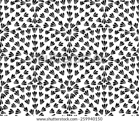 Decorative hand drawn seamless vector pattern. Simple semi-circular floral elements. Ethnic style black and white minimalistic background. - stock vector