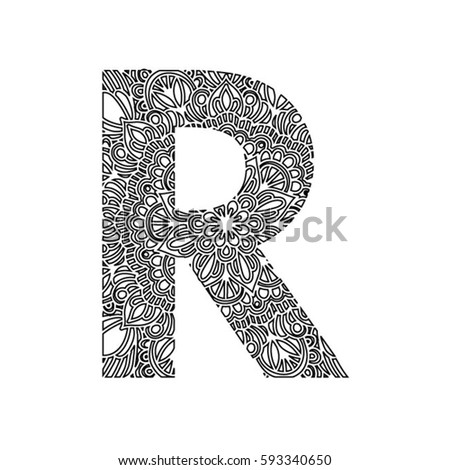 Decorative Hand Made Font Ornamental Lettering Letter R