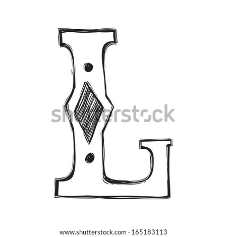 Decorative hand-painted letter in ancient style