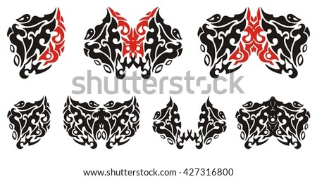 Decorative heart and butterflies from it. Set of the graphic stylized symbols in the form of hearts and butterflies. Black and red on white - stock vector
