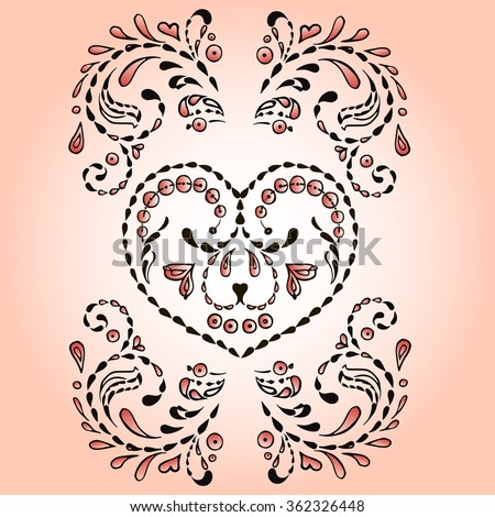 Decorative heart for printing postcards and T-shirts.