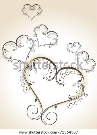 Decorative heart shapes in grey color  made with floral elements on isolated white background for Valentine Day. - stock vector