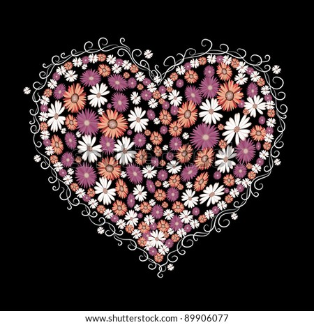 decorative heart with flowers on a black background - stock vector