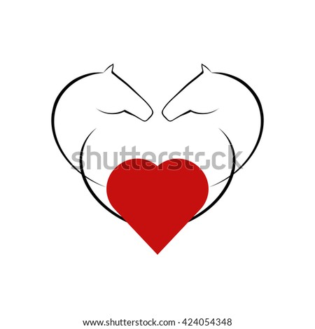decorative heart with horse heads - stock vector