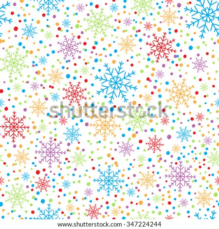 Decorative holiday background, Christmas cheerful colored snowflakes. Seamless winter pattern. - stock vector