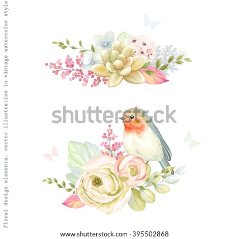 Decorative holiday ornaments of flowers ranunculus, succulent plant, bird Robin, leaves and branches. Floral vector illustration in vintage watercolor style with silhouette butterflies. - stock vector