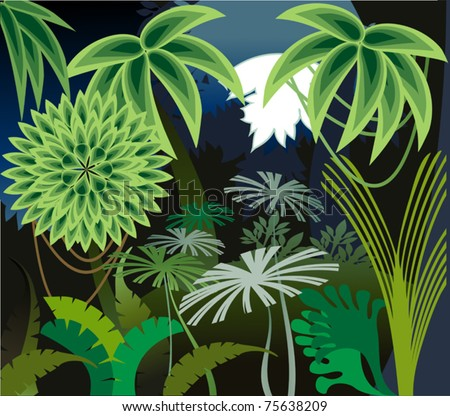 Decorative image of moonrise in the thicket rain forest - stock vector