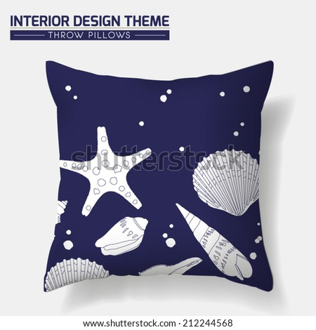 Decorative Indigo Sea Shell Throw Pillow design. Original Sea Shell pattern is complete, masked. Modern Interior design element. Creative Sofa Toss Pillow. Vector design template is layered, editable. - stock vector