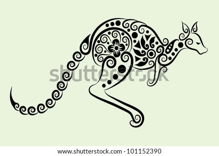 Decorative kangaroo. animal and floral ornament, for tattoo design - stock vector
