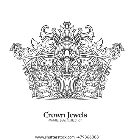 Decorative kings crown. victorian, renaissance, baroque, royal style. Vector illustration. Coloring book for adult and older children. Outline drawing coloring page. Outline drawing.