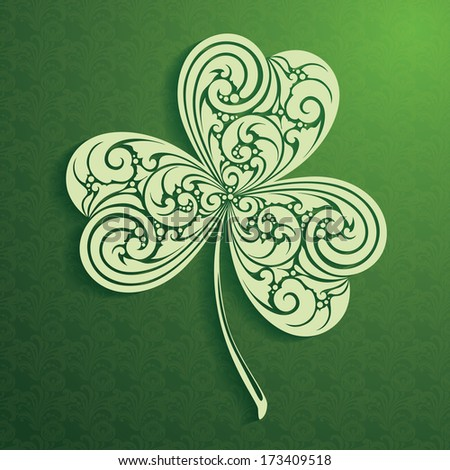 Decorative leaf clover on ornamental background. St Patrick Day - stock vector