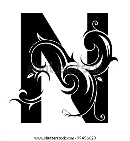 decorative letter shape font type n