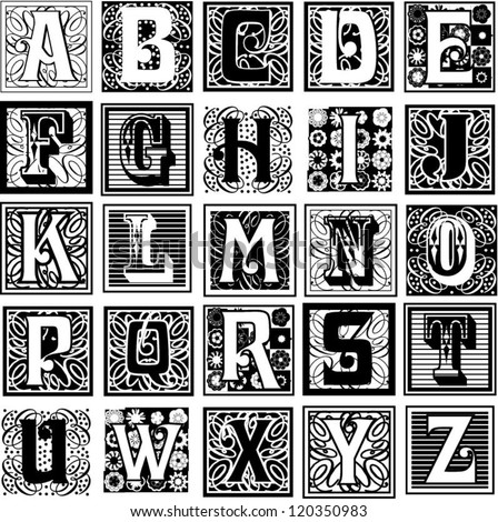 decorative letters variety styles particularly suited stock vector