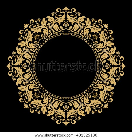 Decorative line art frame for design template. Elegant vector element for design in Eastern style, place for text. Golden outline floral border. Lace illustration for invitations and greeting cards - stock vector