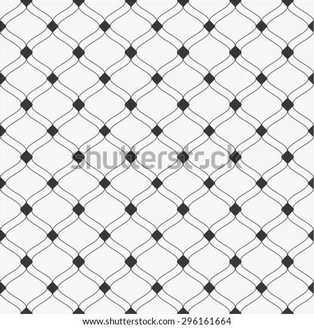 Decorative linear mesh in diagonal pattern, diamond, seamless vector background.